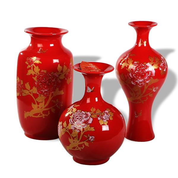 g1151中国红翡翠花格陶瓷工艺品家居三件套陶瓷花瓶